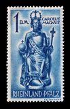 Cancelled postage stamp printed by Germany. That shows Carolus Magnus, circa 1948 royalty free stock images