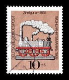 Cancelled postage stamp printed by Germany. That shows Figurine, circa 1969 stock photo