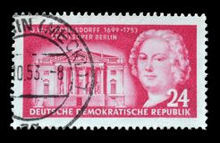 Cancelled postage stamp printed by Germany. That shows Georg Knobelsdorff, circa 1953 royalty free stock photos