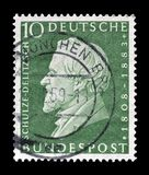 Cancelled postage stamp printed by Germany. That shows  Schulze Delitzch, circa 1959 royalty free stock images