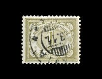 Cancelled postage stamp printed by Netherlands. East Indies, that shows Numeral of Value type Vurtheim, circa 1902 stock image