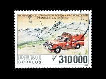 Cancelled postage stamp printed by Peru. That shows Postal vehicle, circa 1990 stock photo