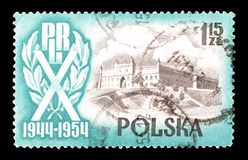 Cancelled postage stamp printed by Poland. That shows Castle in Lublin, circa 1954 stock photography