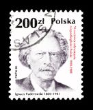 Cancelled postage stamp printed by Poland. That shows Ignacy Paderewski, circa 1966 royalty free stock images