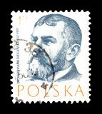 Cancelled postage stamp printed by Poland. That shows Wladyslaw Bieganski, circa 1957 stock images