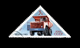 Cancelled postage stamp printed by Soviet Union. That shows Belaz truck, circa 1971 royalty free stock photography