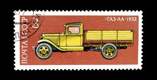 Cancelled postage stamp printed by Soviet Union. That shows Gaz truck, circa 1974 royalty free stock image
