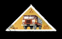 Cancelled postage stamp printed by Soviet Union. That shows Gaz truck, circa 1971 stock image