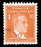 Cancelled postage stamp printed by Turkey. That shows portrait of Kemal Ataturk stock photo