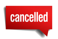 Cancelled red 3d realistic speech bubble Royalty Free Stock Image