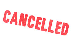 CANCELLED - red Rubber Stamp on white background. Royalty Free Stock Photography