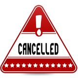 CANCELLED on red triangle road sign. Stock Photo