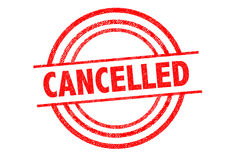 CANCELLED Rubber Stamp. CANCELLED British spelling Rubber Stamp over a white background Royalty Free Stock Images