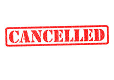 CANCELLED Rubber Stamp. Over a white background Royalty Free Stock Photo