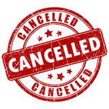 Cancelled rubber stamp. On white background Stock Images