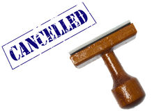 Cancelled stamp. On white background stock photography