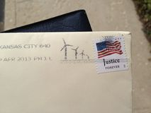 Cancelled Wind Farm Stamp. Stamp cancellation from Kansas City with wind farms Royalty Free Stock Photos
