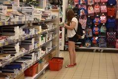 Cancelleria del negozio prima dell'inizio dell'anno accademico Immagine Stock