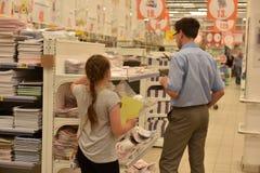 Cancelleria del negozio prima dell'inizio dell'anno accademico Immagine Stock Libera da Diritti