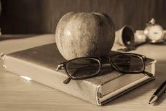 Cancelleria e frutti sullo scrittorio fotografia stock libera da diritti