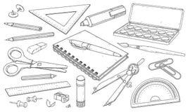 Cancelleria, materiali di arte, linea pennarelli e matite, illustrazione tirata di vettore fotografie stock