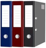 Cancelleria rossa, cartelle blu e nere con i documenti isolati Fotografia Stock Libera da Diritti
