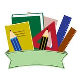 Cancelleria variopinta Scuola o articoli per ufficio con il nastro Illustrazione di vettore illustrazione di stock