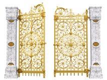 Cancelli dorati e colonne Fotografia Stock
