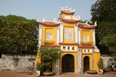 Cancello al pagoda di Dien Huu a Hanoi Fotografia Stock