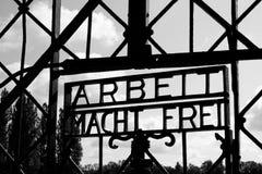 Cancello del campo di concentramento di Dachau Fotografia Stock
