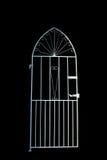 Cancello del ferro sul nero Fotografia Stock Libera da Diritti