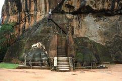 Cancello del leone a Sigiriya in Sri Lanka Fotografia Stock Libera da Diritti