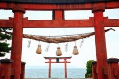 Cancello del tempiale sul lago Biwa Fotografia Stock