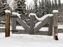 Cancello dell'azienda agricola dello Snowy Fotografia Stock Libera da Diritti