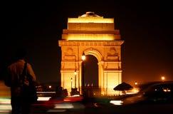 Cancello dell'India entro la notte a Nuova Delhi Fotografia Stock Libera da Diritti