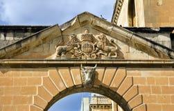 Cancello della città del pilastro a Birgu Fotografia Stock Libera da Diritti