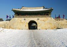 Cancello della fortezza di Hwaseong Fotografia Stock