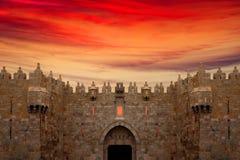 Cancello di Damasco nella vecchia città di Gerusalemme Fotografia Stock Libera da Diritti