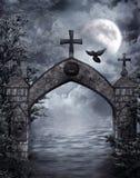 Cancello di fantasia con un corvo Fotografia Stock