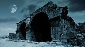 Cancello di fantasia nella luce della luna Fotografia Stock