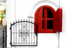 Cancello di giardino del ferro saldato Fotografia Stock Libera da Diritti