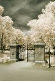 Cancello di giardino nel Infrared fotografia stock