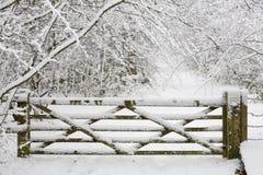 Cancello di legno in neve Immagine Stock