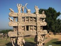 Cancello di Sanchi; Stupa antico in Madhya Pradesh Fotografia Stock