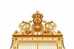 Cancello dorato, isolato su priorità bassa bianca. Immagine Stock