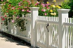 Cancello e rose bianchi fotografie stock