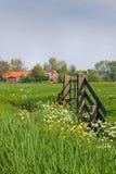 Cancello ed azienda agricola nel landcape olandese del paese Immagine Stock Libera da Diritti