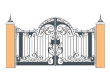 Cancello forgiato del ferro Fotografie Stock Libere da Diritti
