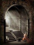 Cancello gotico con le rose illustrazione vettoriale