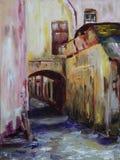 Cancello nella pittura a olio della città Fotografia Stock Libera da Diritti